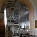 Innenarbeiten an der Kassettendecke in der Kirche Niederschindmaas 2016