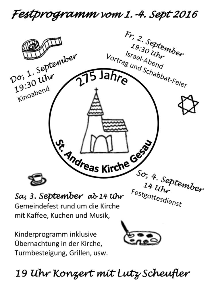 Festprogramm 275 Jahre St. Andreas Kirche Gesau